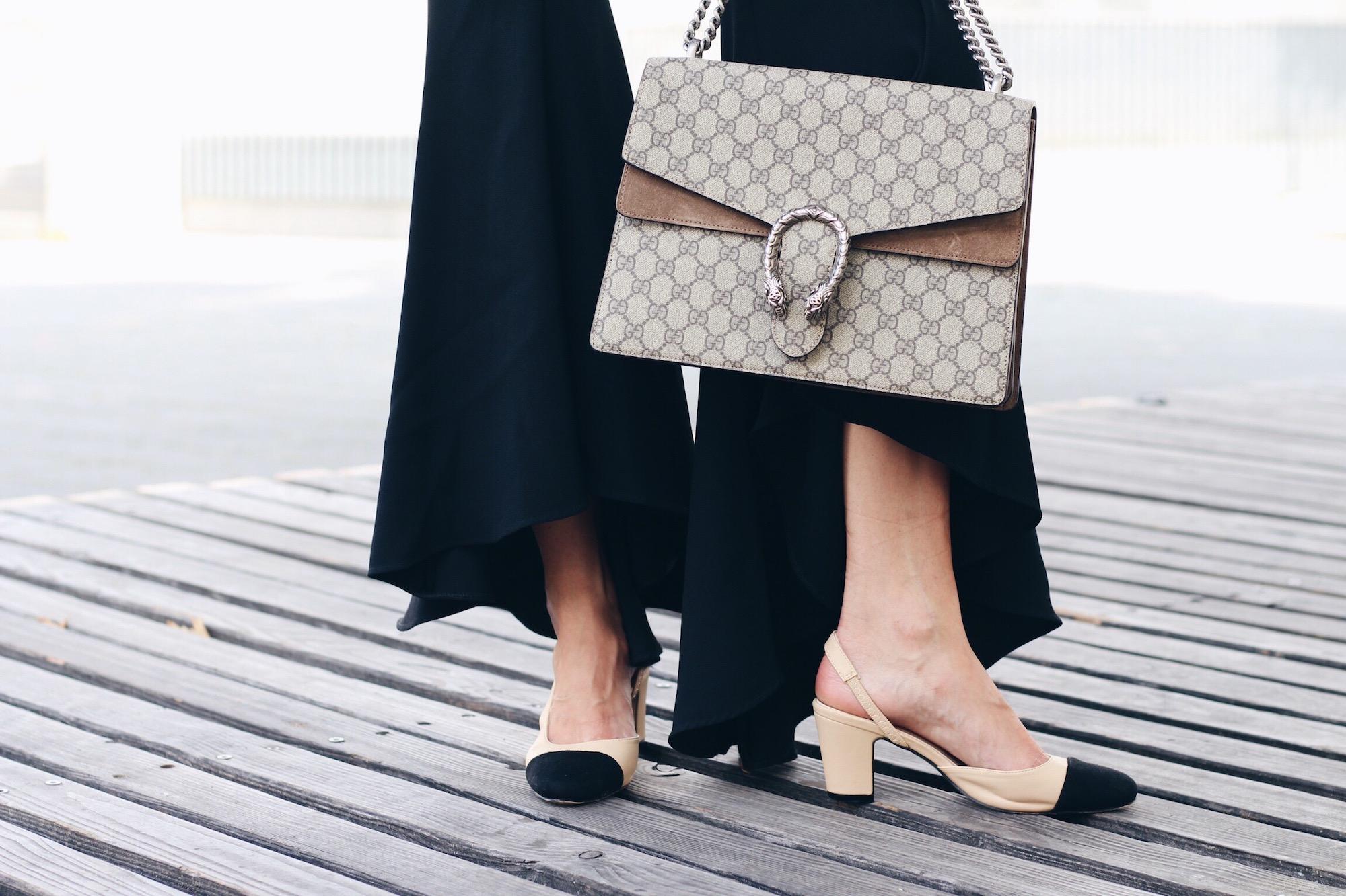 Schlaghose mit Volants von Zara, Gucci Dionysus Bag Céline Sonnenbrille Chanel Look Alike Two Tone Slingback Pumps für meinen Modeblog
