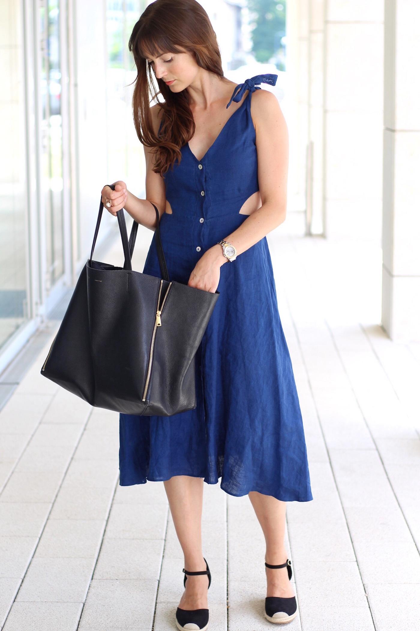 Midikleid von Zara im heutigen Outfitpost kombiniert mit Céline Cabas Bag und Wedges von H&M